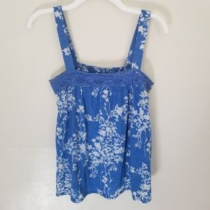 Soft Blue White Floral Tank Top Stretchy Comfy Med